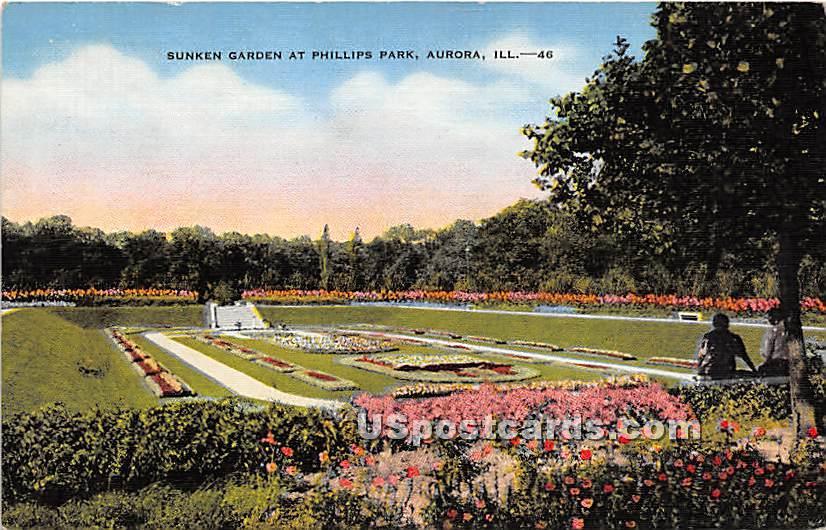 Sunken Garden, Phillips Park - Aurora, Illinois IL Postcard