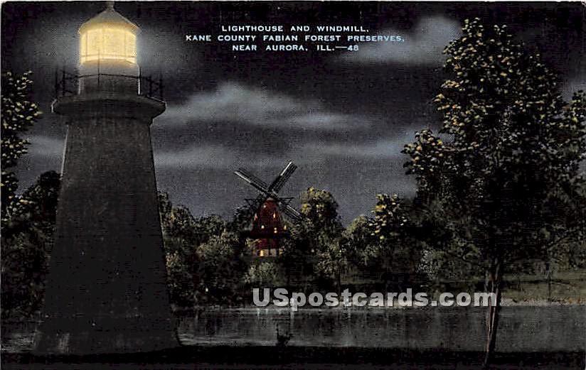 Lighthouse & Windmill, - Aurora, Illinois IL Postcard