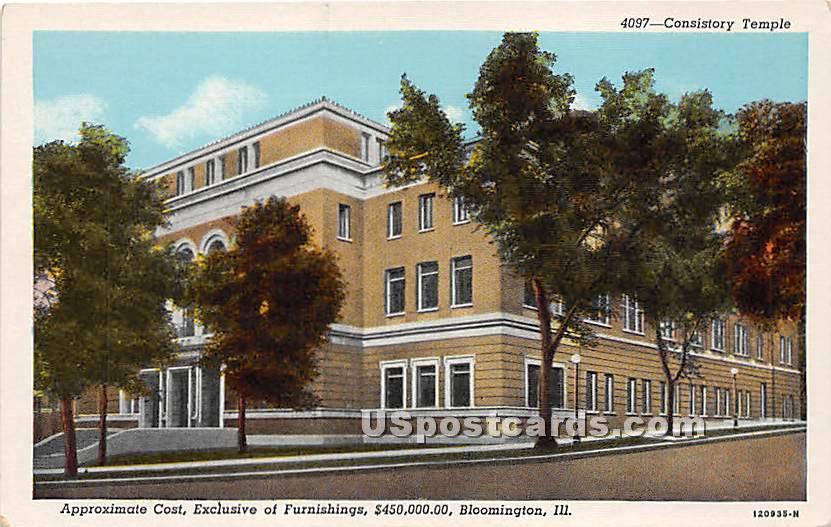 Consistory Temple, $450,000.00 - Bloomington, Illinois IL Postcard