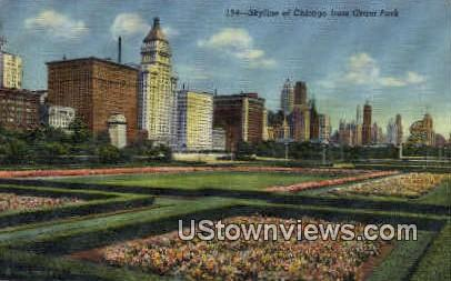 Skyline from Grant Park - Chicago, Illinois IL Postcard