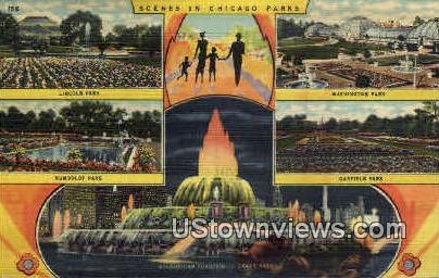 Scenes in Chicago Parks - Illinois IL Postcard