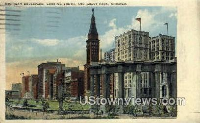 Michigan Blvd and Grant Park - Chicago, Illinois IL Postcard