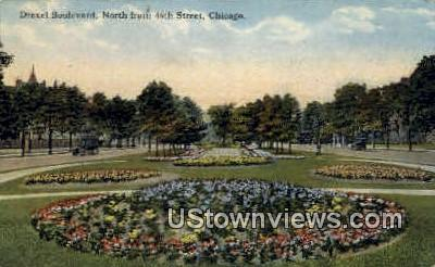 Drexel Boulevard - Chicago, Illinois IL Postcard