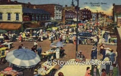 Maxwell Street - Chicago, Illinois IL Postcard