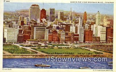 Bird's-Eye view of Michigan Blvd - Chicago, Illinois IL Postcard