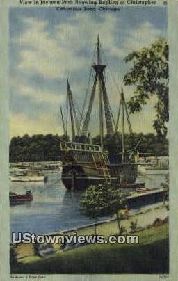 Replica of Christopher Columbus Boat - Chicago, Illinois IL Postcard