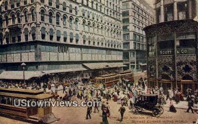 State & Madison St - Chicago, Illinois IL Postcard