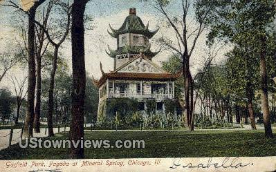 Garfield Park, Pagoda at Mineral Spring - Chicago, Illinois IL Postcard