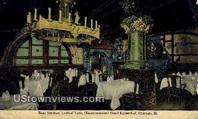 Rear Section, Ladies Cafª, Hotel Kaiserhof - Chicago, Illinois IL Postcard