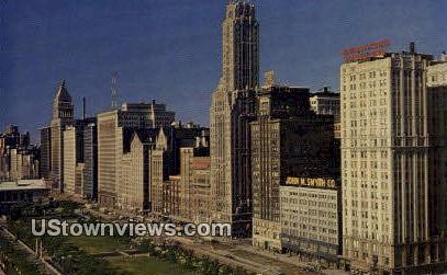 Michigan Ave, Grant Park - Chicago, Illinois IL Postcard