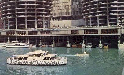 Marina City, Chicago River - Illinois IL Postcard