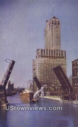Civic Opera Bldg, Chicago River - Illinois IL Postcard