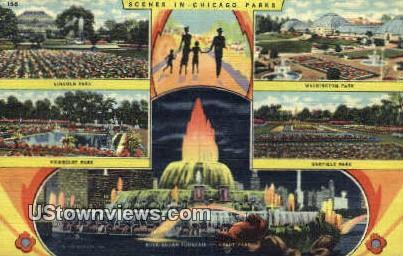 Lincoln Park, Humboldt Park - Chicago, Illinois IL Postcard