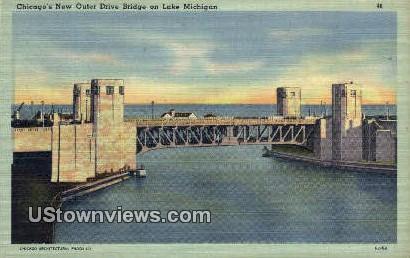 New Outer Drive Bridge, Lake Michigan - Chicago, Illinois IL Postcard