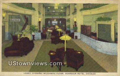 Lobby, Morrison Hotel - Chicago, Illinois IL Postcard