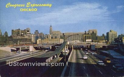 Congress Expressway - Chicago, Illinois IL Postcard