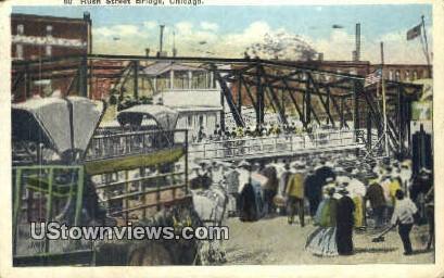 Rush Street Bridge - Chicago, Illinois IL Postcard