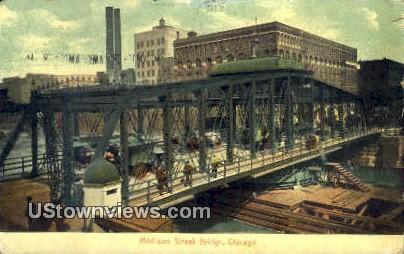 Madison Street Bridge - Chicago, Illinois IL Postcard