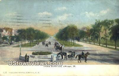 Grand Blvd - Chicago, Illinois IL Postcard