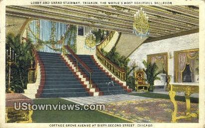 Lobby & Grand Stairway, Trianon - Chicago, Illinois IL Postcard