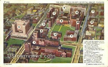 Great Cook County Hospital Group - Chicago, Illinois IL Postcard