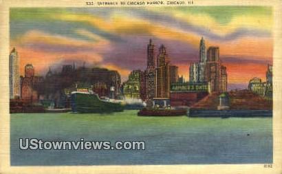 Chicago Harbor - Illinois IL Postcard