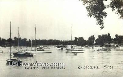 Real Photo - Jackson Park Harbor - Chicago, Illinois IL Postcard