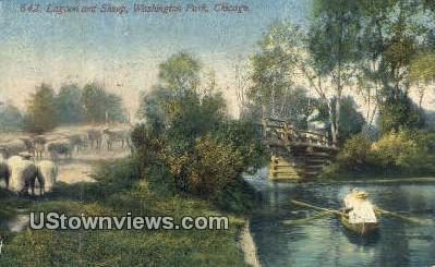 Lagoon & Sheep, Washington Park - Chicago, Illinois IL Postcard