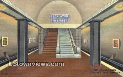 Moving Stairs, Initial Subways - Chicago, Illinois IL Postcard