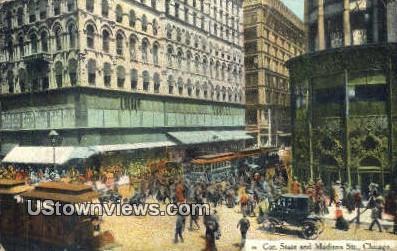 Cor State & Madison St - Chicago, Illinois IL Postcard