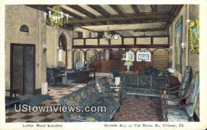 Lobby, Hotel Lorraine - Chicago, Illinois IL Postcard