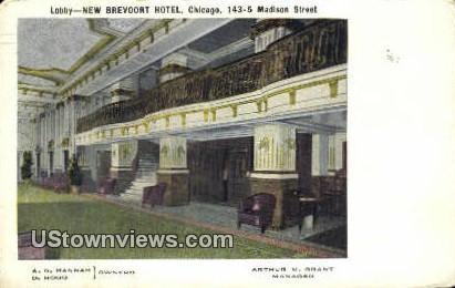 Lobby, New Brevoort Hotel - Chicago, Illinois IL Postcard