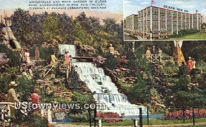 Waterfalls, Olson Park - Chicago, Illinois IL Postcard