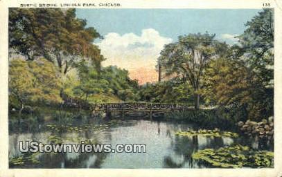 Rustic Bridge, Lincoln Park - Chicago, Illinois IL Postcard