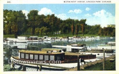 Motor Boat Harbor, Lincoln Park - Chicago, Illinois IL Postcard