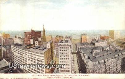 City & Lake, Majestic Bldg - Chicago, Illinois IL Postcard