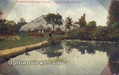 Conservatory & Lagoon, Lincoln Park - Chicago, Illinois IL Postcard