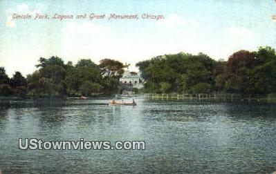 Lagoon & Grant Monument, Lincoln Park - Chicago, Illinois IL Postcard