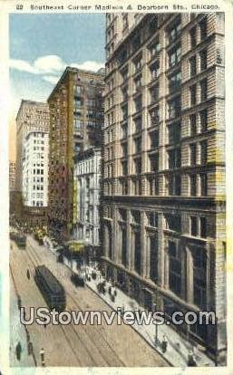 Madison & Dearborn St - Chicago, Illinois IL Postcard