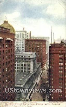 Dearborn St - Chicago, Illinois IL Postcard