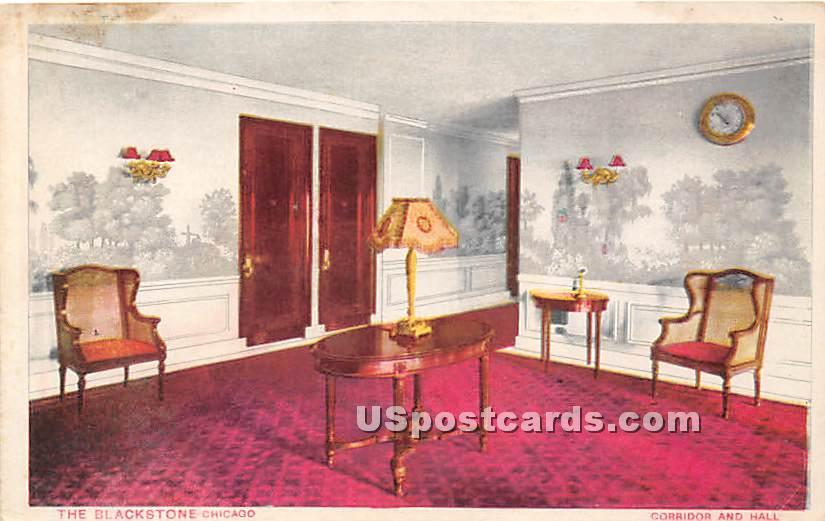 Corridor & Hall, Blackstone - Chicago, Illinois IL Postcard