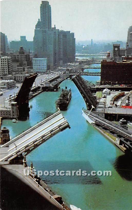 Bridges, Old Fort Dearborn - Chicago, Illinois IL Postcard
