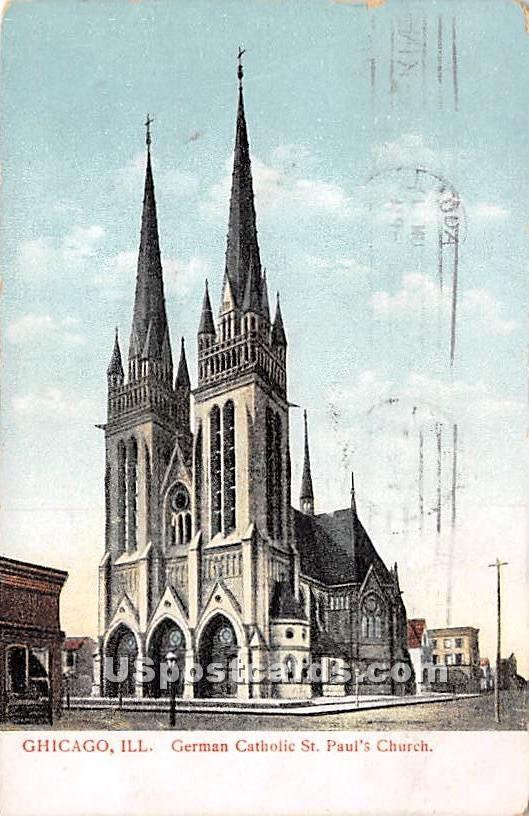 German Catholic St Paul's Church - Chicago, Illinois IL Postcard