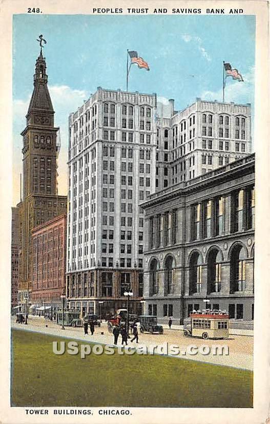 Peoples Trust & Savings Bank - Chicago, Illinois IL Postcard