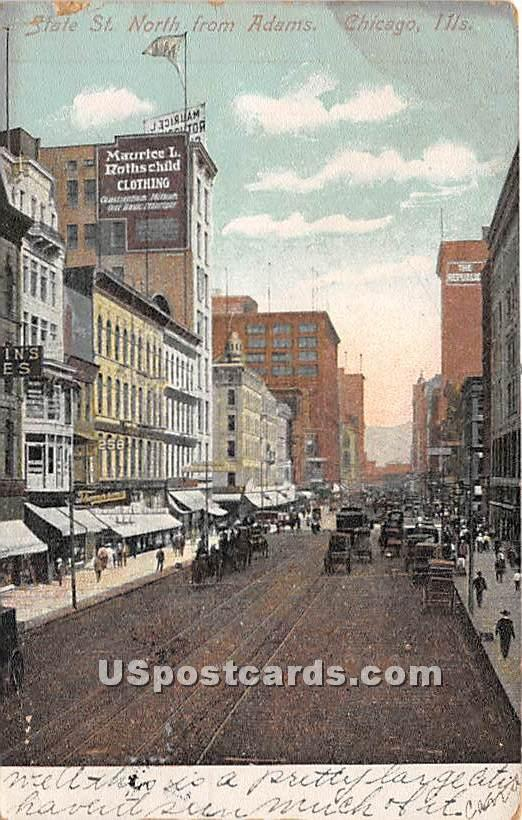 State St North from Adams - Chicago, Illinois IL Postcard
