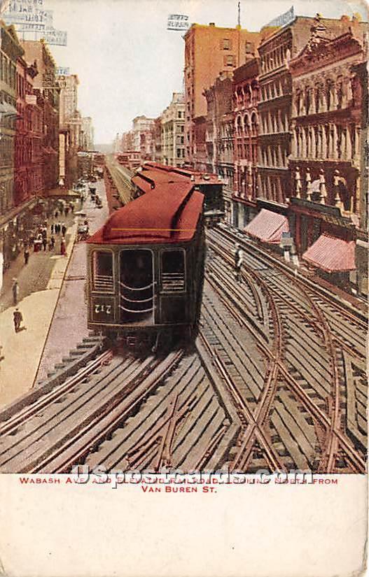 Wabash Avenue & Elevated Railroad - Chicago, Illinois IL Postcard