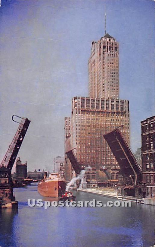 Chicago River, Civic Opera Building - Illinois IL Postcard