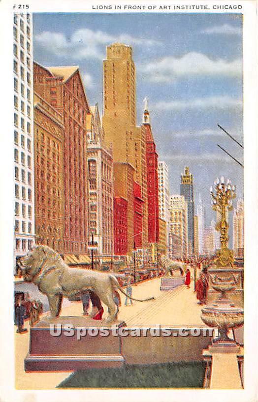 Lions, Art Institute - Chicago, Illinois IL Postcard