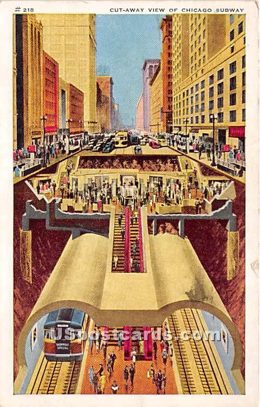 Cut Away, Subway - Chicago, Illinois IL Postcard