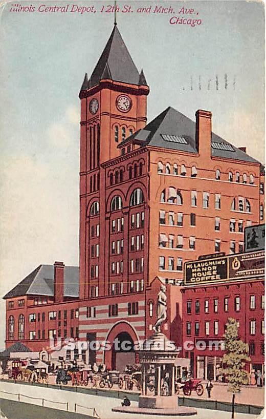Illinois Central Depot - Chicago Postcard